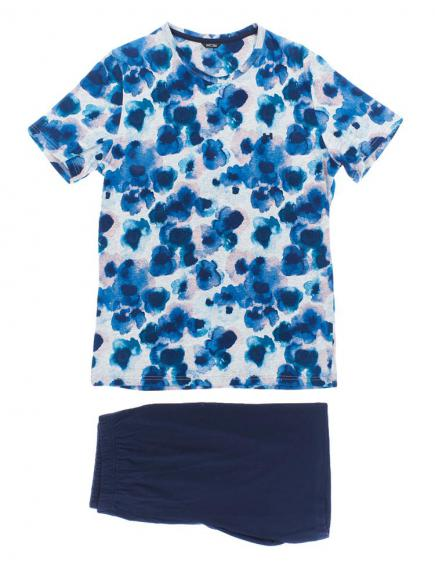 HOM Short Sleepwear - Aqua Flowers Blauw