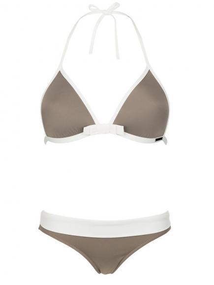 Sapph Zanzibar Bikini Triangle Set Wit/Bruin