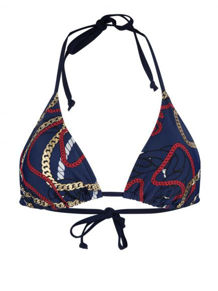 Sapph Menton Triangle Halter Bikini nautical print