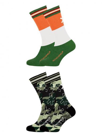 MuchachoMalo 2-Pack Socks Army X Groen/Oranje
