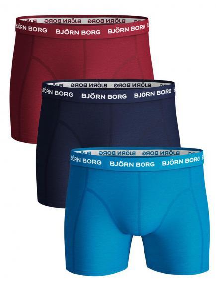 Bj�rn Borg Ess. Cotton Shorts 3-pack Blauw