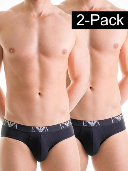 Emporio Armani Stretch Cotton Hip Brief 2-pack Zwart
