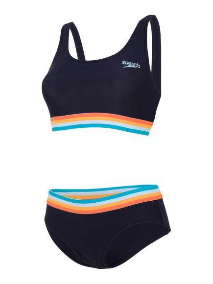 Speedo Solid U Back 2 Piece Blauw