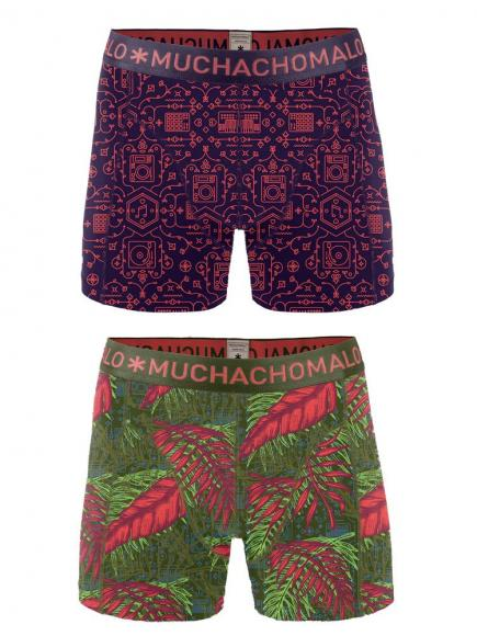 MuchachoMalo Boys 2-pack short print music Roze/Paars
