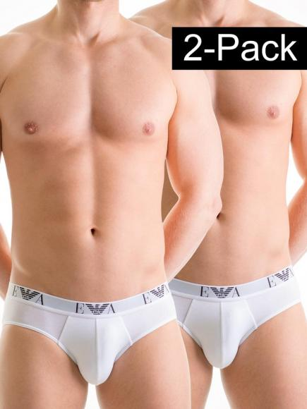 Emporio Armani Stretch Cotton Hip Brief 2-pack Wit