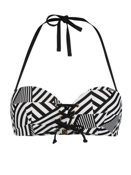 Sapph Navagio Bandeau Bikini Top stipe print zwart/wit