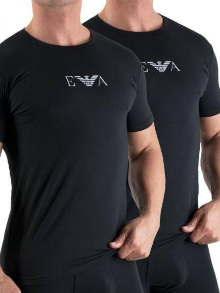 Emporio Armani Stretch T-shirt 2-Pack Zwart