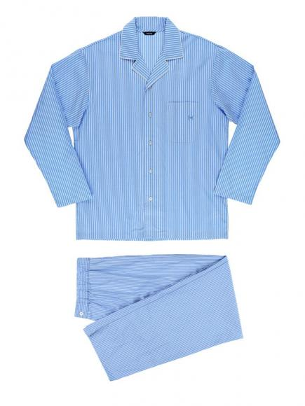 HOM Long Woven Sleepwear - Normandy Blauw/Wit