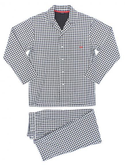 HOM Long Woven Sleepwear - Vichy Wit/Zwart