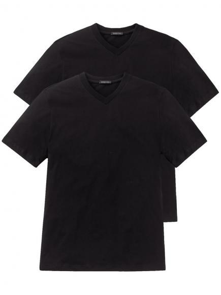 Schiesser 2-pack American T-Shirt V-neck Zwart