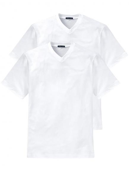 Schiesser 2-pack American T-Shirt V-neck Wit
