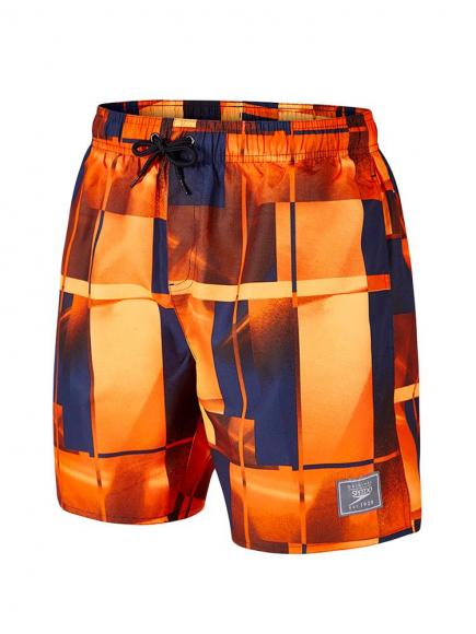 Speedo Beach Check Leisure Short Blauw/Oranje