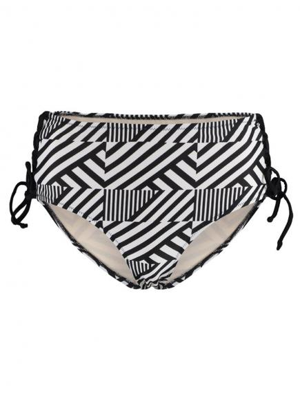 Sapph Navagio High Brief Strappy stipe print zwart/wit