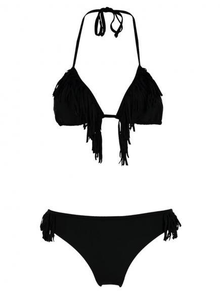 Shiwi Bikini Triangle Fringe Zwart