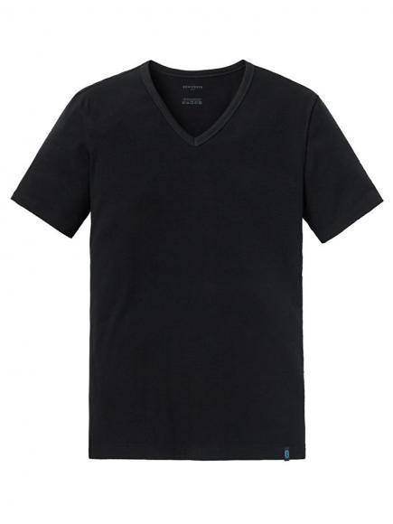 Schiesser 95/5 Shirt 1/2 v-neck Zwart