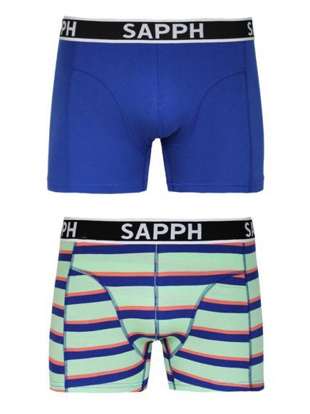Sapph 2p Cotton Shorts - James yard dye mint blauw