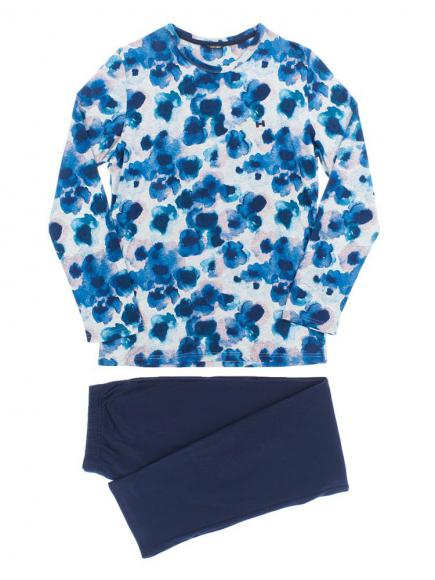HOM Long Sleepwear - Aqua Flowers Blauw